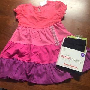 Hanna Anderson girls 2t dress & 2 pair leggings